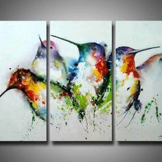 Decor: Interior Paint Ideas With Bird Painting On Canvas Set Of 3 For Modern Living Room Design