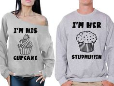 Awkward Styles I& His Cupcake Off the Shoulder Sweatshirt I& Her Studmuffin Sweater Funny Matching Couple Sweatshirts Valentines Day Gifts Boyfriend Girlfriend Sweaters for Couples Anniversary Gifts.
