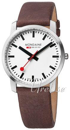 Mondaine Hvit/Lær Ø41 mm