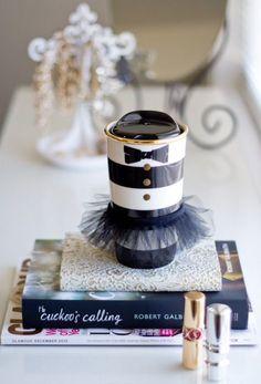 Starbucks Alice Olivia Holiday Striped Tumbler Mug Cup w Tutu