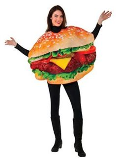 Rubies Mens Burger Costume -- Food costumes are so funny! You can entertain anyone with this halloween costume.