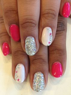 Color blocking nail design. Bio Sculpture Gel #122 - Ashes of Roses ...