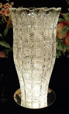 queens lace cut glass | BEAUTIFUL CZECH CUT CRYSTAL VASE QUEENS LACE