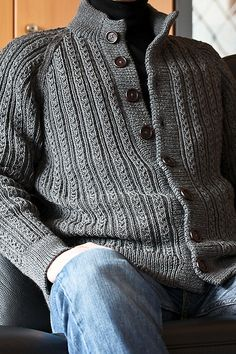 Diy Crafts - Ravelry: Project Gallery for A Herrenjacke mit Fantasierippen pattern by Heidi Zuschke, Ursula Marxer, Melanie Marxer, Manuela Seit Knit Jacket, Sweater Jacket, Knit Cardigan, Men Sweater, Sweater Knitting Patterns, Knitting Designs, Knit Patterns, Cable Knit Sweaters, Knitwear