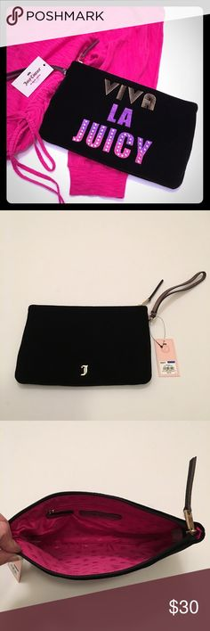 "NWT Juicy Couture Velour Wristlet! NWT Juicy Couture ""Viva La Juicy"" velour wristlet! Add some excitement to your outfit with this Juicy Couture velour wristlet you can effortlessly take on-the-go. PRODUCT FEATURES:  Black velour, faux leather, sequined graphic quote, wrist strap, zipper closure. Interior: Zip pocket. SIZE: 6.75''H x 10.75''W x 0.5''D. 🚫TRADES. Juicy Couture Bags Clutches & Wristlets"