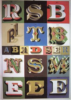 The sign writer and glass embosser - Plate xviii: Examples of raised and shaded letters for glass and wood signs Cool Typography, Creative Lettering, Vintage Typography, Typography Letters, Lettering Design, Painted Letters, Hand Painted Signs, 3d Letters, Inspiration Typographie