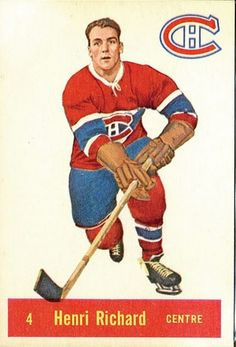 Montreal Canadiens Henri 'The Pocket Rocket' Richard. What was the most Stanley Cups won ever in the world's? Montreal Canadiens, Hockey Games, Ice Hockey, Maurice Richard, National Hockey League, Sports Pictures, Chicago Blackhawks, Hockey Players, Football Cards
