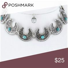 """NWT SET OF WESTERN BOHO CHOCKER AND EARRINGS NWT SET of western boho cowgirl silver tone metal with turquoise accent necklace and crystal stud earrings.  It is 12"""" with 2 """"extention chain. Jewelry Necklaces"""