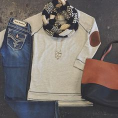 """ⓃⒺⓌ ⒶⓇⓇⒾⓋⒶⓁ Elbow Patch Tunic $38 Rock Revival """"Taime"""" Bootcut $169 Two-Tone Reversible Tote $62 Black & White Knit Scarf $20 #shophoitytoity #htholiday Elbow Patches, Rock Revival, Stitch Fix, Autumn Winter Fashion, Fall Winter, Tunic, Style Inspiration, Photo And Video, Black And White"""
