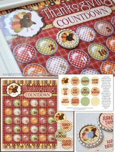 Printable ADVENT countdown for Thanksgiving - with instructions for making a magnetic frame and bottle cap magnets, TURKEY DAY... #mycomputerismycanvas