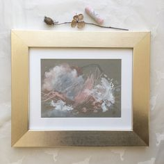 "A beautiful little piece from the ""In you I trust"" mini series of pastel, pencil and acrylic on grey toned paper. She's positively glowing in this frame. Abstract Landscape, Abstract Art, Peach Decor, Moon Painting, Pink Wall Art, Toned Paper, Pink Walls, Medium Art, Mixed Media Art"