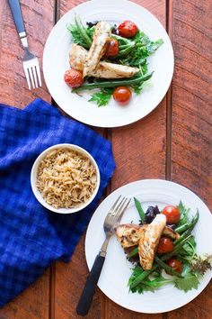Herb Marinated Chicken with Pilaf, Tomatoes, Beans and Sumac Cream