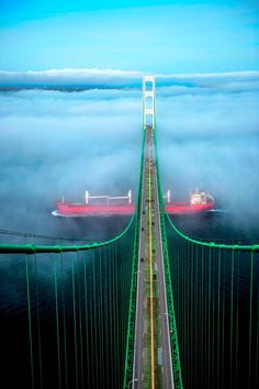 Mackinac Bridge with a Great Lakes Freighter.