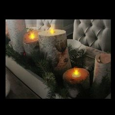 Northlight Gray and Green LED Lighted Flickering Rustic Lodge Woodland Birch Candles Christmas Canvas Wall Art x Christmas Canvas, Christmas Gifts, Christmas Decorations, Table Decorations, Green Led, Lighted Canvas, Decorating Coffee Tables, Canvas Wall Art, Woodland