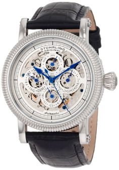 Stuhrling Original Men's 150A.33152 Symphony Maestro II Automatic Skeleton Date Black Leather Strap Watch: Watches: Amazon.com