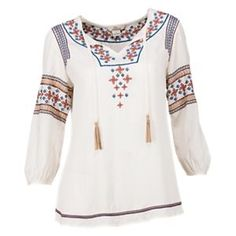 Bob Timberlake Embroidered Peasant Blouse for Ladies - Cream - 2XL