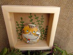 手繪招財貓 石趣部落原創手繪卵石 送花的貓 可愛 萌-淘宝网全球站