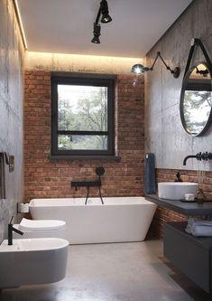 Bathroom Design Small, Bathroom Interior Design, Modern Bathroom, Design Kitchen, Brick Bathroom, Brick Interior, Toilet Design, Loft Design, Loft Style