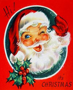 1950s It's Christmas Winking Santa Claus Waving Glitter Vintage Christmas Card