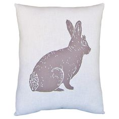 Hand-printed pillow with a naturalistic rabbit study.   Product: PillowConstruction Material: Cotton and polyest...