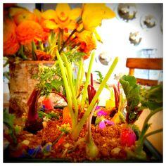"""LIVING GARDEN"" CRUDITES HEIRLOOM CARROTS, BREAKFAST RADISH, ICICLE RADISH, MICRO CELERY EDIBLE FLOWERS, LIME LEAF VINAIGRETTE, PUMPERNICKLE ""SOIL"" PRESENTED IN ""EGG CARTON"" SEEDLING TRAYS ON A 4' BUTCHER BLOCK Crudites, Edible Flowers, Vinaigrette, Celery, Food Art, Trays, Carrots, Egg, Presentation"