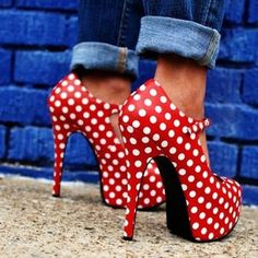 A fashion-y take on red, white, and blue, with polka dot stilettos and rolled-up denim