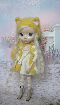 Pullip #hat cat yellow mohair #pullip helmet knitted hat for Pullip doll pullip outfit pullip chapeau beanie handmade by JujaShop on Etsy
