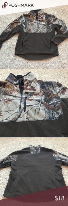 Men's Camo Fleece Pullover Men's • Fleece • True to Size • Camo • Zipper Pocket on Chest • 2 Zipped Pockets • 100% Polyester Game Winner Jackets & Coats