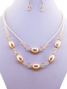 Fashion Jewelry ~Light Pink Beads Necklace and Earrings Set (Style 10987 Lt Pink)