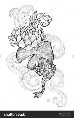 Tattoo, Frog with floral ornament on a lotus leaf