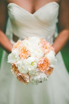 Fluffy white and orange peonies make a super pretty bouquet Photography by Caroline Ghetes Photography / carolineghetes.com, Floral Design by The Place for Flowers / placeforflowers.com