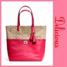 """Spotted while shopping on Poshmark: """"Coach Legacy Signature Scarlet pink Tote NWT""""! Coach Legacy, Dog Leash, Large Tote, Coach Handbags, Scarlet, Tote Bag, Purses, Zip, Leather"""