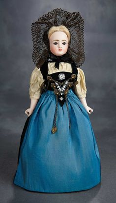 """The Voyage Continues"" - Saturday, January 7, 2017: 103 Beautiful German Bisque Closed Mouth Doll Attributed to Kling with Fine Original Costume"