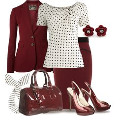 Blood Red & Dots for Office by yasminasdream on Polyvore
