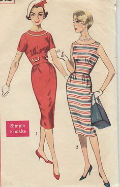 Vintage sewing pattern: 1950s-60s wiggle dress
