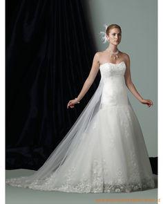 2013 neues Brautkleid aus Organsin schulterfreier Ausschnitt und Rock in Meerjungfrauform mit Kapelleschleppe