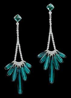 Platinum Diamond , Tourmaline Earrings...