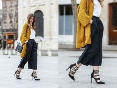 Kristi Gogsadze - Mango Side Pockets Cardigan, Simmi Shoes Heels - Mustard