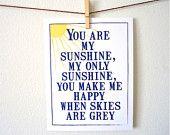 "You are my Sunshine Art print. Chic and Modern Nursery Print. Blue and Yellow. Nursery Decor. Wall Art. 8.5 x 11"""