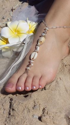 WEDDING BAREFOOT SANDALSShell Bridal by CarlasAccessories on Etsy for wawa