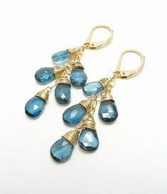 AAA London Blue Topaz Earrings 14K Gold Filled
