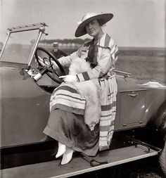 1920's, hat, dress, car