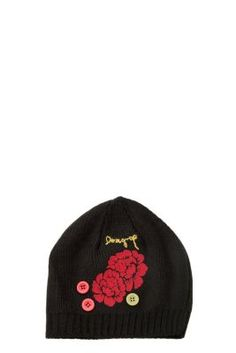 Desigual women's hat, in black with red flower detail. It will keep you warm this Winter.