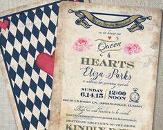 Mad Hatter Tea Party Bridal Shower Idea. Vintage navy harlequin pattern. Queen of Hearts Invitation. Vintage garden tea party idea. #bridalshower #weddingshower