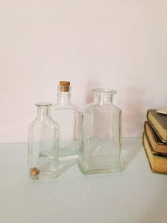 VINTAGE APOTHECARY DECOR Bottles Set of 3 by AnnmarieFamilyTree