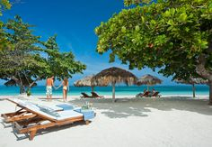 Enjoy lazy days just relaxing on the white sand beach. Sandals Montego Bay