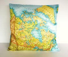 pillow cover map cushion CANADA organic cotton by mybeardedpigeon, $55.00