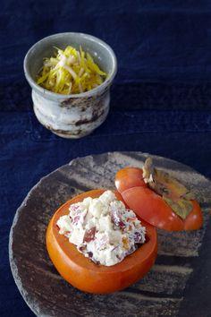 Japanese Persimmons stuffed with Fall Fruits in Pine Nut-Tōfu Sauce | Shira aé, Kaki Utsuwa 柿の白和え