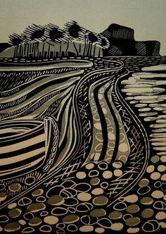 """Budleigh Salterton"" 3-Block Linocut by Cathy King. http://cathykingprints.com/ Tags: Linocut, Cut, Print, Linoleum, Lino, Carving, Block, Woodcut, Helen Elstone, Trees"