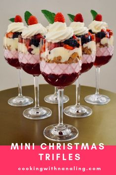 Discover the magic ingredient in these mini Christmas trifles The Christmas table isn't quite complete without a Christmas Trifle. These individual mini trifles are made extra special with Nana Ling's flummery recipe. Christmas Trifle, Christmas Deserts, Christmas Party Food, Xmas Food, Christmas Appetizers, Christmas Cooking, Holiday Desserts, Holiday Recipes, Dinner Recipes